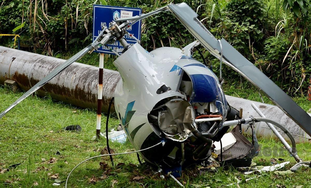 Helikopter terhempas yang meragut dua nyawa. FOTO NSTP